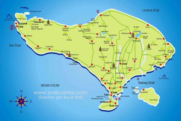 Bali map bali bus hire map bali is small island of indonesia bali map is easy to find location in bali gumiabroncs Choice Image