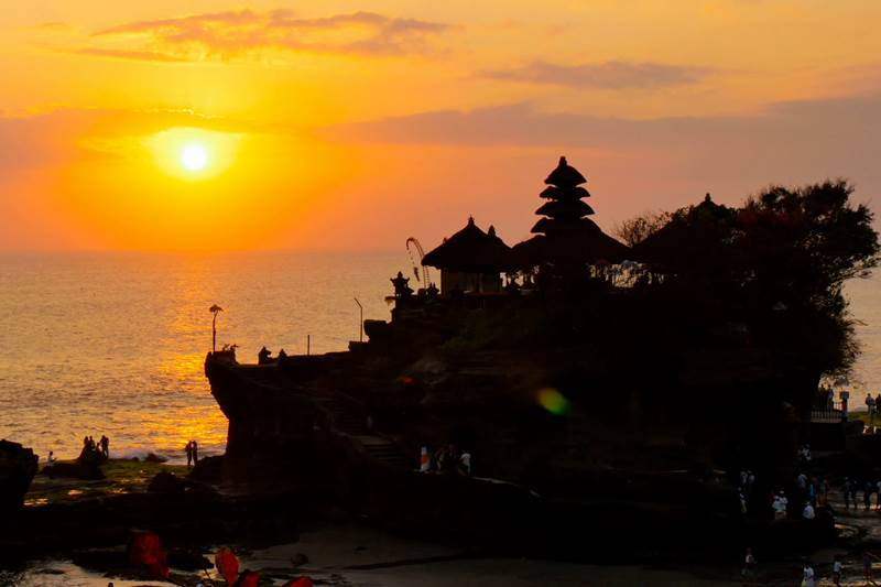 Sunset at Tanah Lot temple Tabanan Bali