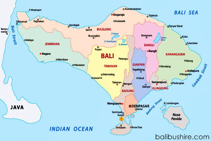 Map Island of Bali